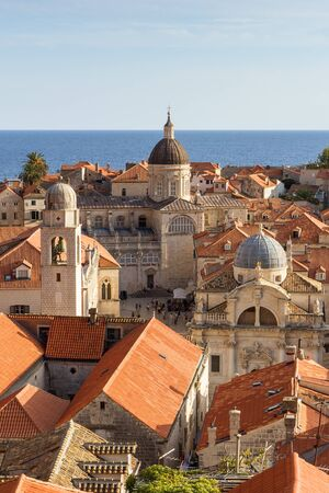 old towns: Old Towns skyline with red roofs and churches and cathedrals towers in Dubrovnik, Croatia, viewed slightly from above.