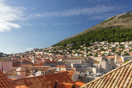 srd: View of buildings and red roofs at the Old Town in Dubrovnik, Croatia. Copy space.