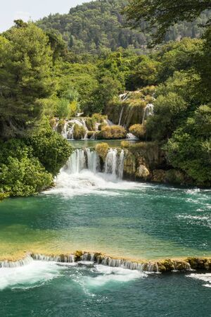 lush foliage: Scenic view of waterfalls, cascades and lush foliage at the Krka National Park in Croatia.