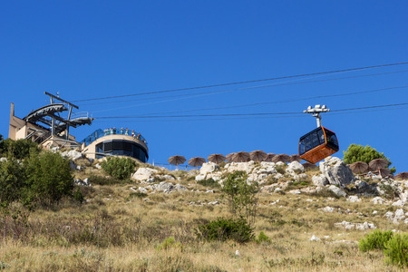 srd: Cable car arriving terminus at the Mount Srd in Dubrovnik, Croatia, viewed from below. Editorial