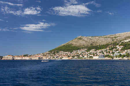 srd: View of city of Dubrovnik and Mount Srd from the sea in Dubrovnik, Croatia. Copy space. Stock Photo