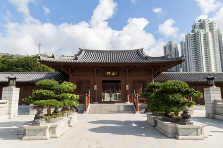 tang: Chi Lin Nunnery in Hong Kong, China. Traditional Chinese architecture in Tang Dynasty style. Stock Photo