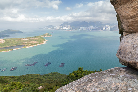 ling: View from the top of the Ling Kok Shan hill at the Lamma Island in Hong Kong, China.