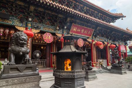 sin: Exterior of the ornate Sik Sik Yuen Wong Tai Sin Temple in Hong Kong, China.