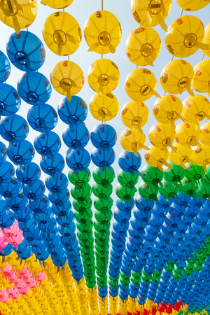 birthday religious: Colorful paper lanterns viewed from below at the Bongeunsa Temple in Seoul, South Korea, celebrating Buddhas birthday.
