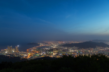View of Busan in South Korea from above at night. Copy space.