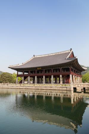 pool halls: Gyeonghoeru Pavilion (Royal Banquet Hall) at the Gyeongbokgung Palace, the main royal palace of the Joseon dynasty, in Seoul, South Korea. Copy space.