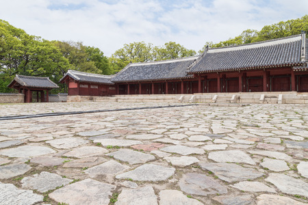 confucian: Plaza and Jeongjeon - the main hall of the Jongmyo Shrine in Seoul, South Korea. It is the oldest royal Confucian shrine preserved and UNESCO World Heritage Site.