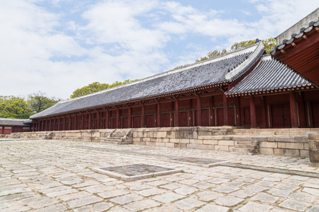 confucian: Jeongjeon - the main hall of the Jongmyo Shrine in Seoul, South Korea. It is the oldest royal Confucian shrine preserved and UNESCO World Heritage Site.