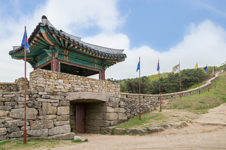 surrounding wall: View of North Gate of Geumjeongsanseong Fortress and surrounding wall in Busan, South Korea. Stock Photo