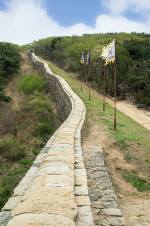 surrounding wall: View of the surrounding wall next to the North Gate of Geumjeongsanseong Fortress in Busan, South Korea.