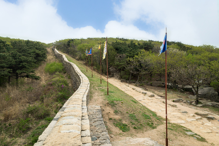 View of the surrounding wall next to the North Gate of Geumjeongsanseong Fortress in Busan, South Korea.