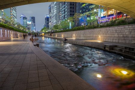Few people along the Cheonggyecheon Stream in Seoul, South Korea in the evening. Editorial
