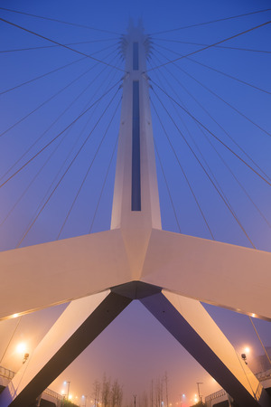incheon: Symmetric view of a bridge in Songdo, Incheon, South Korea, from below at dusk.