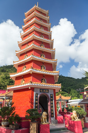 storey: Nine-storey pagoda at the Ten Thousand Buddhas Monastery (Man Fat Tsz) in Sha Tin (Shatin), Hong Kong, China. Stock Photo