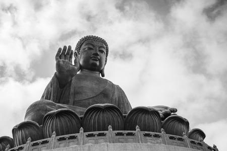 blackwhite: Tian Tan Buddha (Big Buddha) statue in black&white at Ngong Ping on Lantau Island in Hong Kong, China, viewed from below.