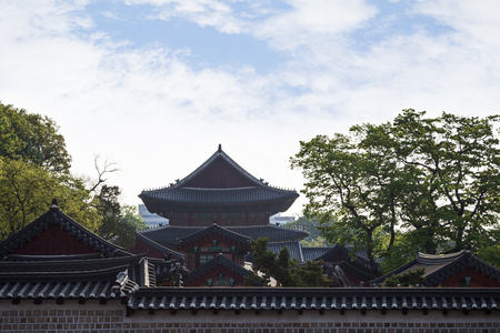 surrounding wall: View of buildings roofs at the Changdeokgung Palace behind a surrounding wall in Seoul, South Korea. Copy space.