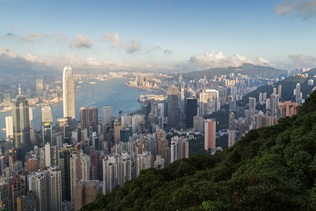 View of skyline on the Hong Kong Island in Hong Kong, China, viewed from the Victoria Peak in daylight.