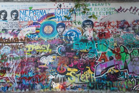 John Lennon Wall (or Lennon Wall) In Prague, Czech Republic... Stock ...