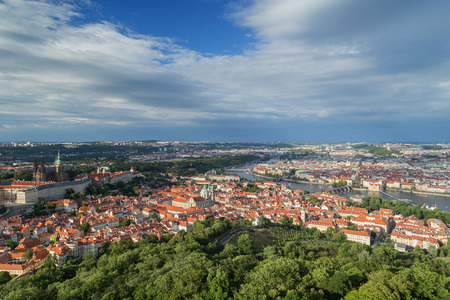 View of the Petrin Hill, Mala Strana (Lesser Town) and Old Town districts and beyond in Prague, Czech Republic, from above. Copy space. Stock Photo