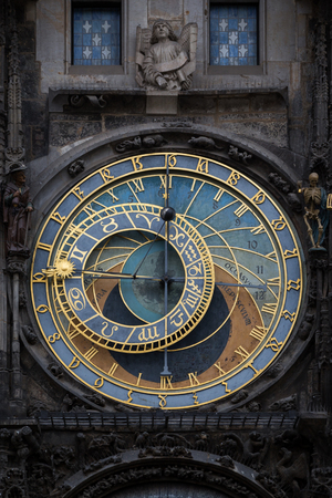 Close-up of the medieval Prague astronomical clock mounted on wall of Old Town Hall in the Old Town Square in Prague, Czech Republic.
