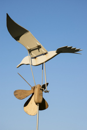 wind vane: Seagull pinwheel Stock Photo