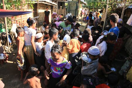 overcrowded: RAKHINE STATE, MYANMAR - NOVEMBER 05 : Hundreds of Muslim Rohingya are suffering severe malnutrition in overcrowded camps in Myanmars Rakhine state, on NOVEMBER, 2015 in Sittwe, Myanmar.