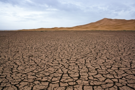 cracked: Dry lake at the sahara in Morocco
