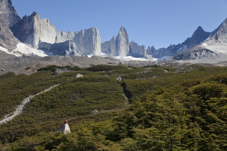 Man gazing at the amazing valle frances in torres del paine, Chile photo