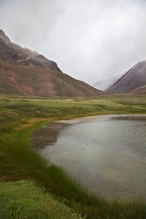 aconcagua: Horcones lake at the Aconcagua valley, argentinian Andes