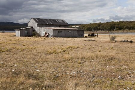 Abandoned farmhouse near fagnano lake, Tierra del fuego, Argentina Stock Photo - 16826865