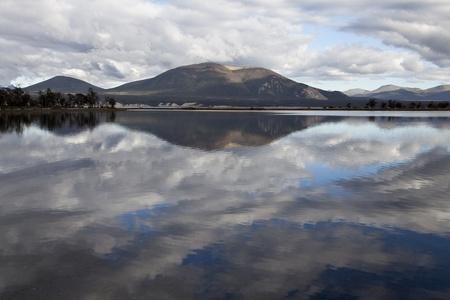 fuego: Reflection at fagnano lake in tierra del fuego, Argentina