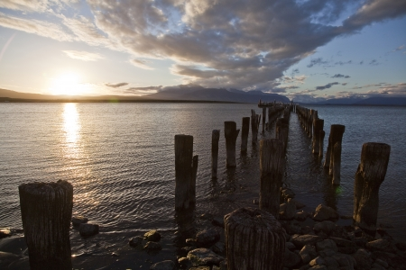 puerto natales: Sunset at the dock in Puerto Natales  Chile
