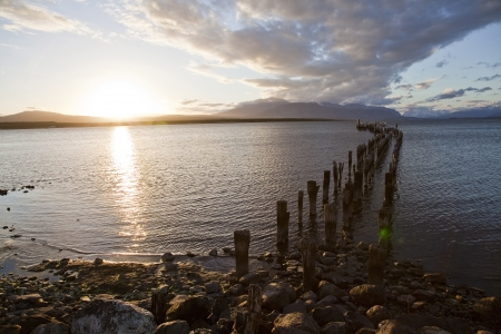 puerto natales: Sunset at the coastline of Puerto Natales  Chile  Stock Photo
