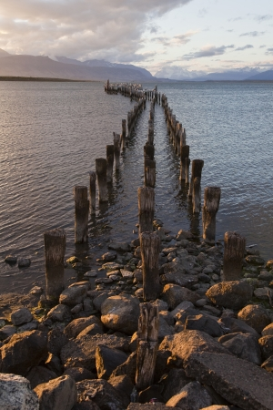 puerto natales: Dock at the coastline of Puerto Natales  Chile