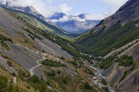 Beautiful landscape of a valley at Torres del Paine  Chile photo