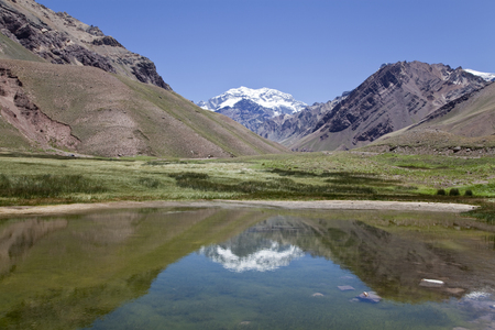 Aconcagua mountain reflected at a lake, Argentina. photo