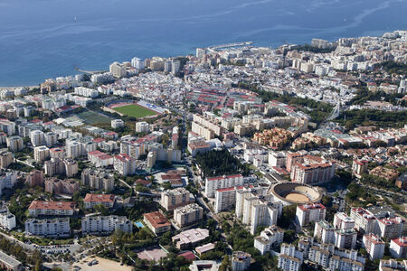 bull ring: Aerial view of Marbella with its soccer field and bull ring, Spain.