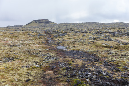 volcanic landscape: Volcanic landscape with a small volcano at the back, Iceland.