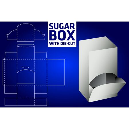 Sugar box with die-cut Vector