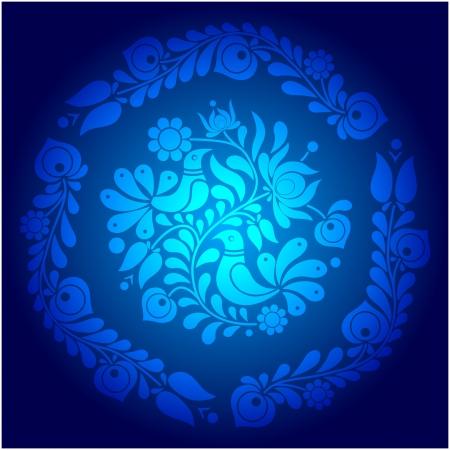 Blue Hungarian Vector ornament