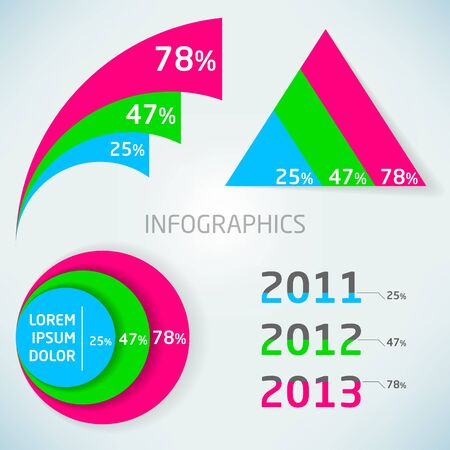 Abstract vector colorful infographics charts