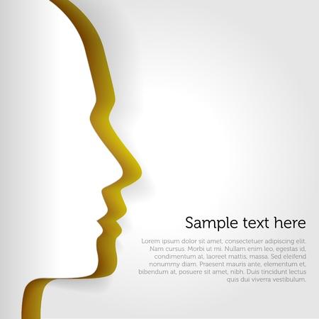 Human head paper vector card