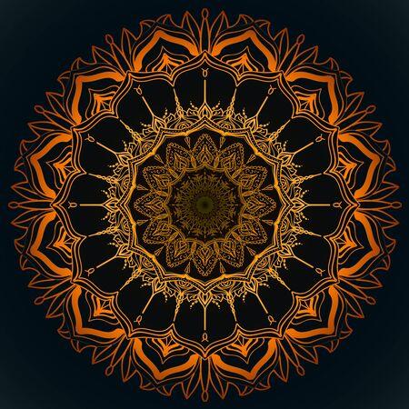 sacral: Orange, solar mandala. Represent sacral symbol, look like abstract sun or bouquet of flowers. Illustration