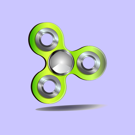 A fidget spinner is a toy that consists of a bearing in the centerin circular pad. Hand toy.