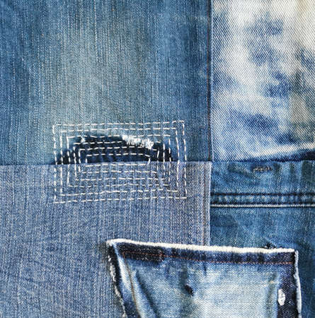 mixed jeans fixing and repaired, denim fabric background, old jeans, stitch, sewing Stok Fotoğraf