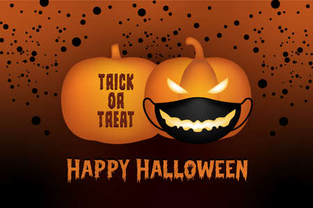 vector graphic background, yellow pumpkin jack-o-lantern wear black mask and crafted text trick or treat on red graphics background