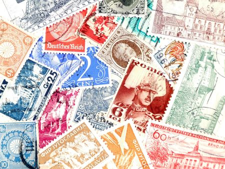 collectible: Various old postage stamps. Collectible postmarks. Old collection related to mail.