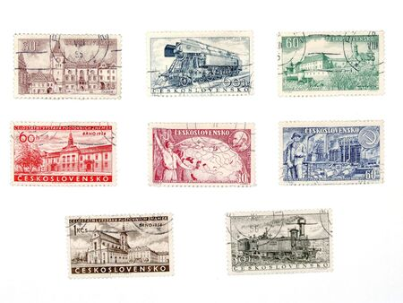 collectible: Vintage postage stamps from no longer existing country - Czechoslovakia (Ceskoslovensko). Former soviet block collectible.