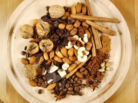 mixture: Mixture of nuts and dried fruit with coffee beans and other stuff. Christmas cuisine concept.
